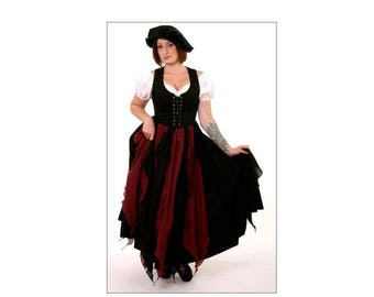 Ps15 Burgundy/Black Medieval Renaissance Clothing Faire Costume Pirate Peasant Wench Cotton Fairy Petal Skirt