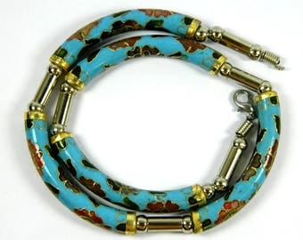 Vintage Light Blue Cloisonne Copper Enamel Arc Tube Necklace,Floral Pattern,Good Jewelry Collection,Chinese Traditional Handicraft