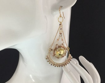 Hanging earrings, pearl earrings, Swarovski Crystal to beads, earring gold