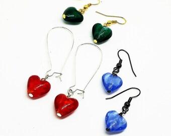 Glass foil heart earrings, love heart earrings, dangle earrings, silver foil, kidney wire earrings, coloured glass earrings, gift for her,