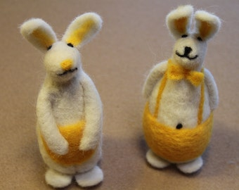 Handcrafted Needle Felted Wool Easter Rabbits-Ma and Pa