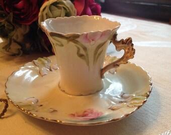 Gorgeous Vintage Pale Yellow with Iris Demitasse/Teacup/Mini Teacup
