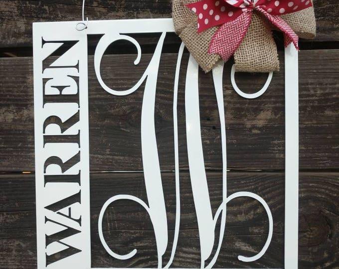 Front Door Hanger, Front Door Wreath, Last Name Sign, Monogram Door Hanger, Metal Door Sign, Wall Hanging, Wall Decor, Family Name Sign