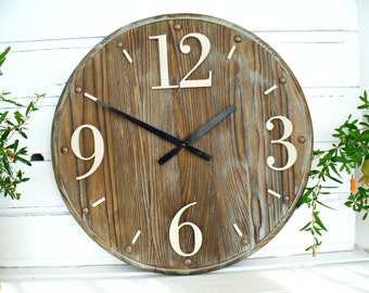 Rustic Wall Clock 16 inch Home Decor wooden wall clock rustic decor wood wall art