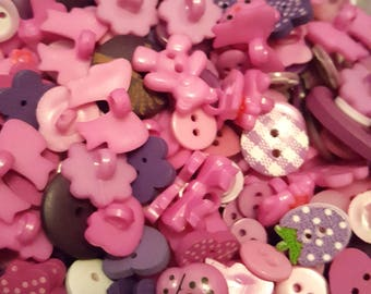 50g Button mix, Buttons, Craft buttons, Sewing buttons, Assorted buttons, Mixed buttons, Bulk buttons, Scrapbooking buttons, Purple