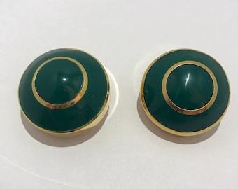 Lanvin ears green bakelite clips. french vintage creator. French luxury 1970 french bakelite