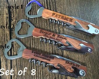 Groomsmen Bottle Opener, Custom Corkscrew, Engraved Wine Opener, Wedding Party Gifts - Custom Bottle Opener, Monogrammed Corkscrew, set of 8