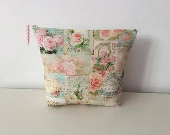 toiletry flowers D'ANTAN in fabric beige and pink, pastel, shabby chic