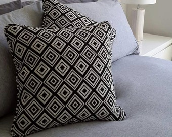 Black & White Cushions, soft, decor, home interior, squares, design. Decorative pillows.