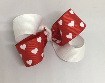 Red and White bow, bows for girls, 4 inch Hair Bows, Hair Bows with Clips, Baby Hair Bows, Toddler Hair Bows, Valentine bow, heart bow,