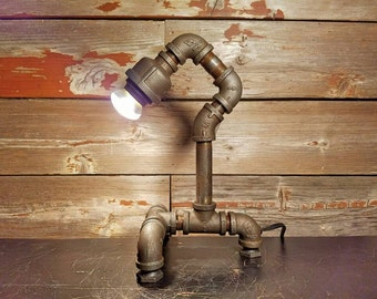 Steampunk Desk Lamp, Pipe Lamp, Edison Lamp, Industrial Pipe Lamp, Pipe Light