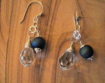 Blue Druzy Agate and Crystal Briolette Earrings