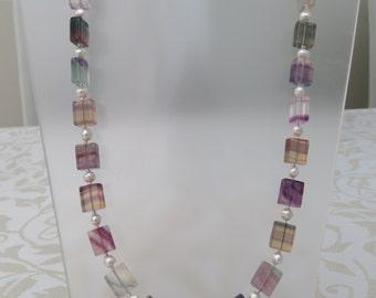 Rainbow fluorite/freshwater pearl semi precious necklace