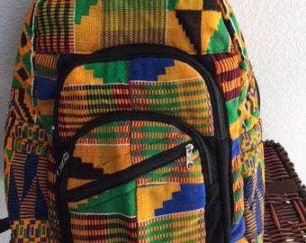 kente backpack, handwoven fabric