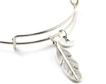 FEATHER bangle, silver tone feather bracelet, feather charm, initial bracelet, adjustable bangle, personalized jewelry, swarovski birthstone