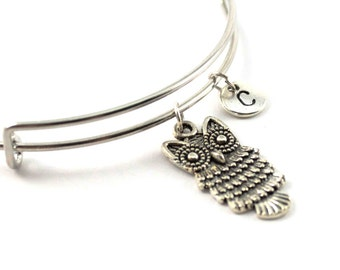 OWL bangle, silver owl bracelet, owl charm, initial bracelet, adjustable bangle, personalized jewelry, swarovski birthstone, gift for her