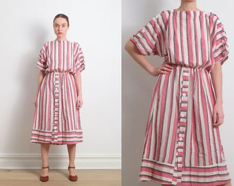 60s Pink White Striped Cotton Blouson Dress / M