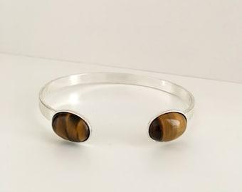 Silver stone bracelet, Silver bracelet and tiger eye stone, Gemstone bracelet, Semiprecisous stone bracelet, Tiger eye jewelry, Gift