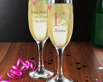 Personalised Birthday Age Champagne Flute For Her - 18th 21st 30th 40th 50th
