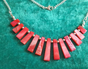 Coral Shell  drop necklace handmade on a silver plated chain Crystal gemstones Chakra