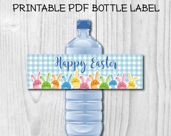 Funny Happy Easter Printable Water Bottle Labels DIY Easter's Party Water Bottle Labels Ready to print Fun Bunny water bottle label design