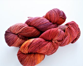 Malabrigo Arroyo Archangel Sport Weight Yarn Red Purple Orange Pink