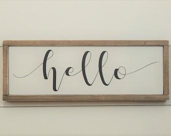 Hello Sign - Wood Hello Sign - Hello Wooden Sign - Wood Sign - Wooden Hello Sign - Framed Wood Sign -  Wood Framed Sign - Hello Sign Wood