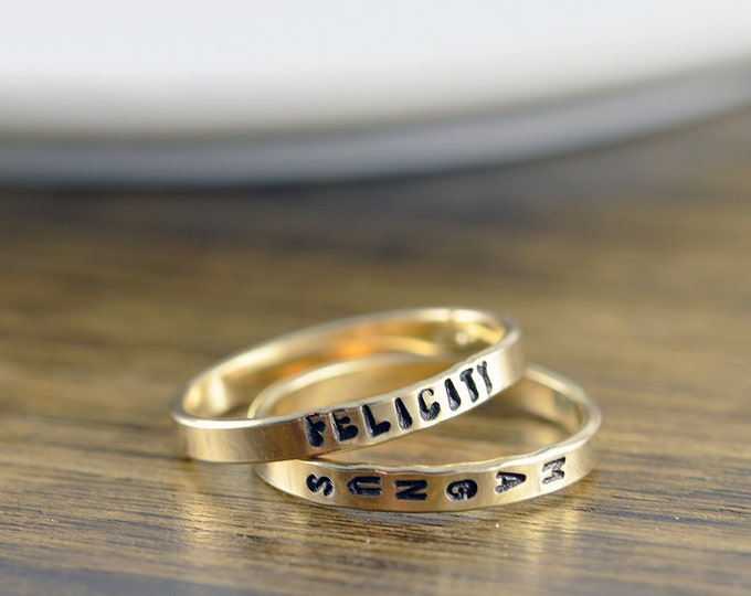Personalized Gold Ring, Kids Names Rings, Mommy Ring, Name Ring, Custom Name Ring, Gold Ring, Hand Stamped Ring, Personalized Ring