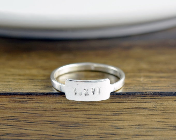 Name Ring, Sterling Silver Ring, Roman Numeral Ring, Personalized Ring, Hand Stamped Tab Ring, Silver Stacking Rings, Gift for Her