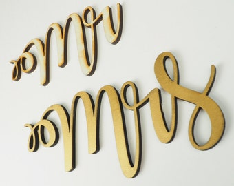 Mr & Mrs Wedding Chair Sign, Wooden Laser Cut Chairbacks for Bride and Groom