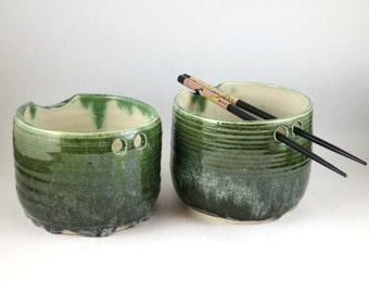 Jade Frost Rice Bowl Pair