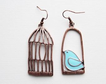 Bird Earrings Cage Antique Bronze