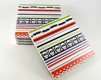 Halloween Coasters – Halloween Scrapbook Paper Coasters – Drink Coasters – Ceramic Coasters – Tile Coasters – Coaster Set - Hostess Gift