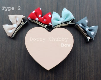 2pcs Dotty chubby bow clip set -Christmas red-toddlers-girls-colourful-cutest-hair accessories