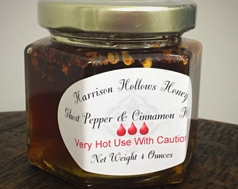 Ghost Pepper and Cinnamon Honey 4 ounces