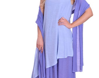 Italian Lagenlook Style Summer Beach Dress with matching Scarf in Lavender