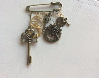 Steampunk safety pin brooch