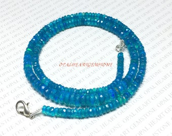 """30% Off Most Rare AAAA Ethiopian Round Faceted Blue Opal Gemstone 4-6mm 18"""" Inches Long Neckless Multi Fire Play Code#NC35"""