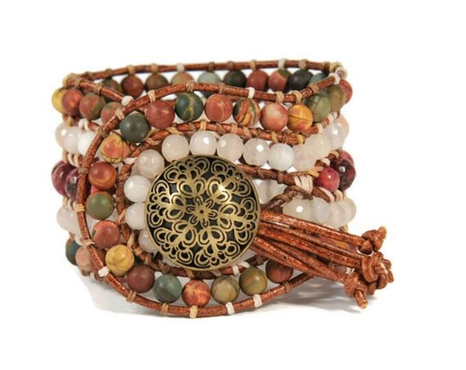 Boho Amalthea * 5 strand Statement Wrap Bracelet. Boho Style. Bohemian Jewelry. Semiprecious stones. Gift for her. Unique Design.