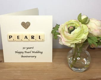 30th Wedding Anniversary Card, Pearl Wedding Anniversary, Pearl Anniversary Card, Scrabble Greeting Card, Thirtieth Anniversary,