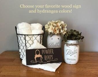 Powder Room Sign Mason Jar Bathroom Set Decor Mason Jar Decor Country Bath  Rustic Bath Set