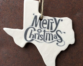 Texas Gifts, Texas Ornaments, Unique Christmas Ornaments, Handmade Christmas Ornaments, White Christmas Ornaments, Ceramic Ornaments