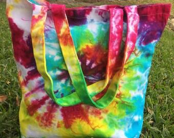 Canvas tote bag / Handmade tie dye/ 12 x 13