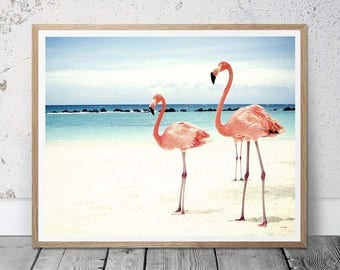 flamingo print, girl nursery decor, tropical wall art, beach house decor, pastel beach decor, flamingo photo, pink flamingo art, wall art