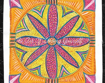 Pink Daisy Mandala Original Mini Painting