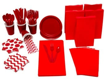 Red Tableware Pack Ready to Send