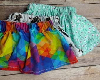 Skirt - 2T / 3T - floral skirt - rainbow skirt - cotton skirt - cute skirt - toddler skirt - elastic waist skirt  spring skirt-ready to ship