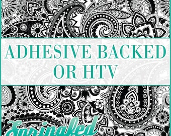 Paisley Pattern #1 in Black & White Adhesive Vinyl or HTV Heat Transfer Vinyl for Shirts Crafts and More!