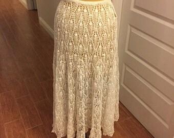 Beautiful Handmade Vintage Crochet Skirt/ Beach coverup