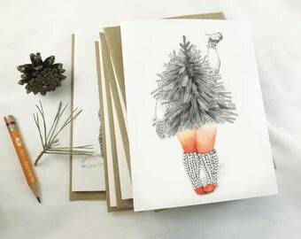 Greeting card. Greeting card. Christmas card. Tree illustration. Character drawing. playful woman illustration. watercolor. pencil